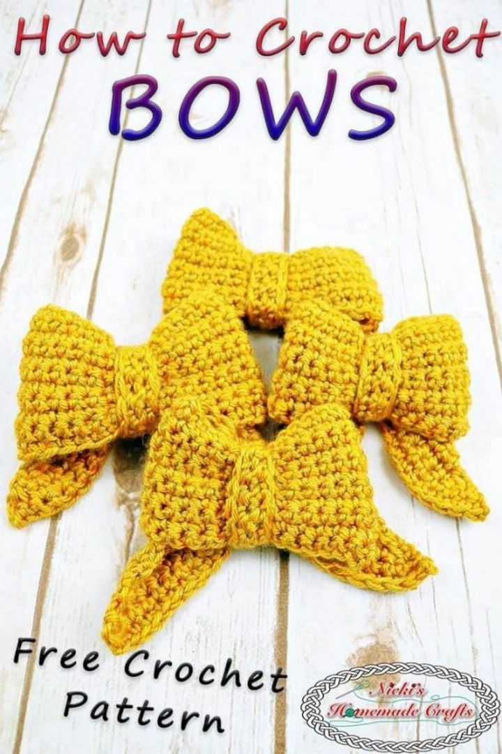 How to Crochet a Bow with One Color Yarn easily
