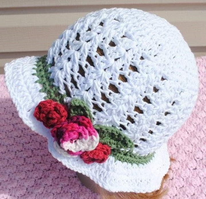 Inspiring Beautiful Candy Puff Knitted Hat Pattern With Flower