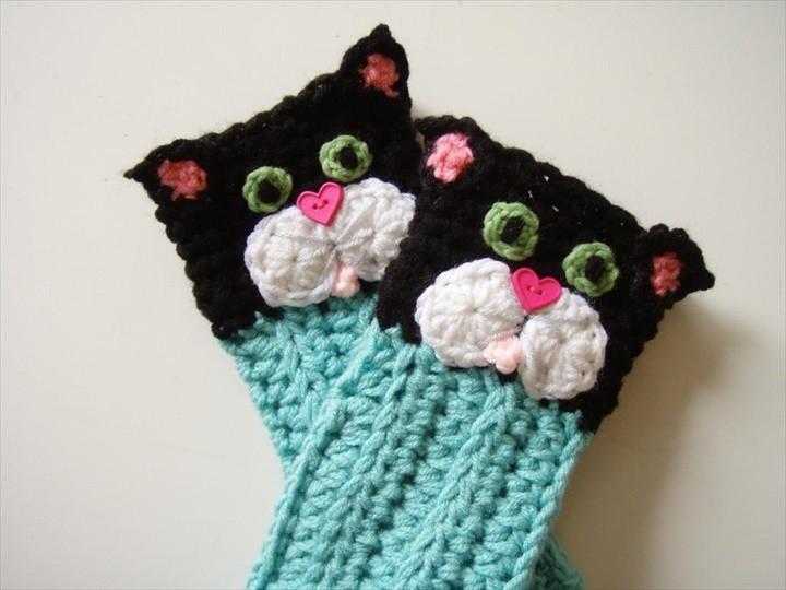Kitty Cat Fingerless Gloves