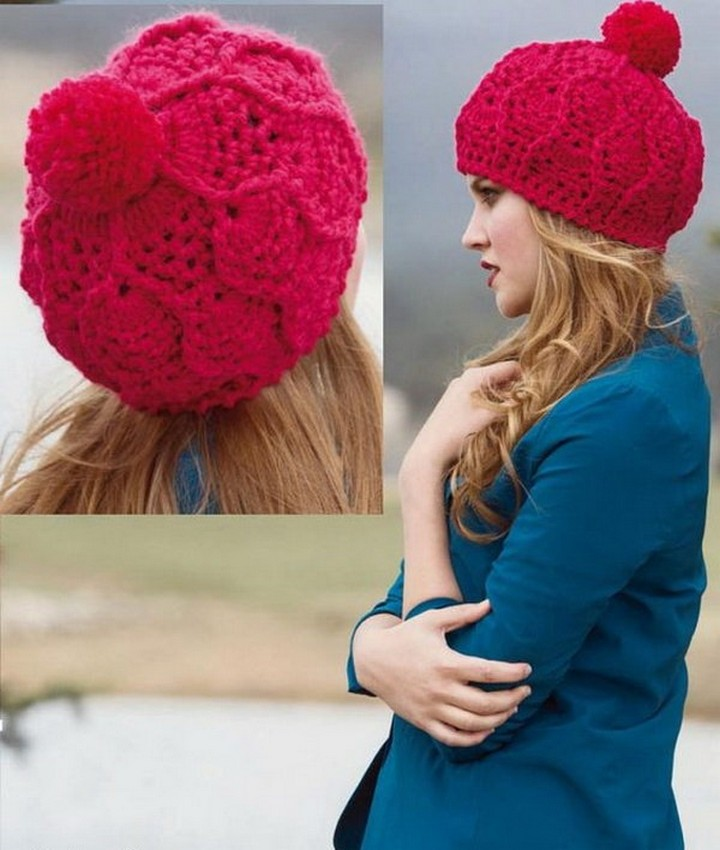 Knitted Pattern Crochet Hat In Pink Color With Pom Pom
