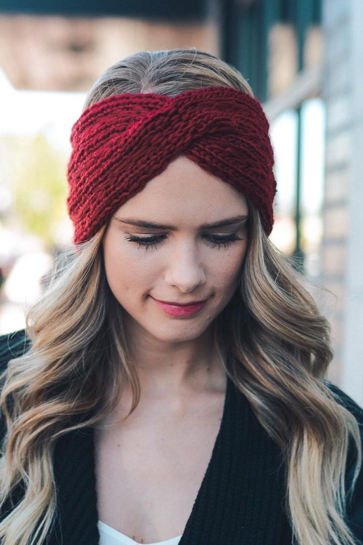 Mehroon Color Twist Braid Knit Crochet Headband