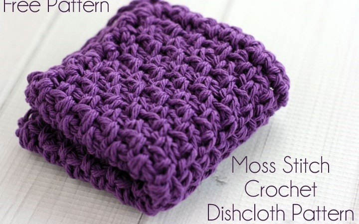 Moss Stitch Crochet Dishcloth Pattern 1