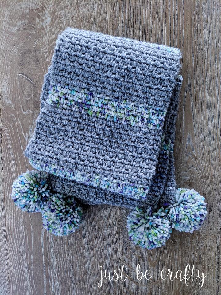 Moss Stitch Crochet Pom Pom Scarf Free Pattern