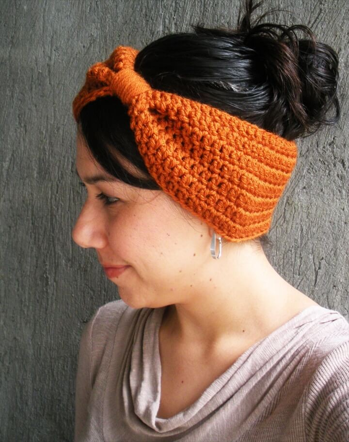 Orange Free Crochet Latte Headband Pattern