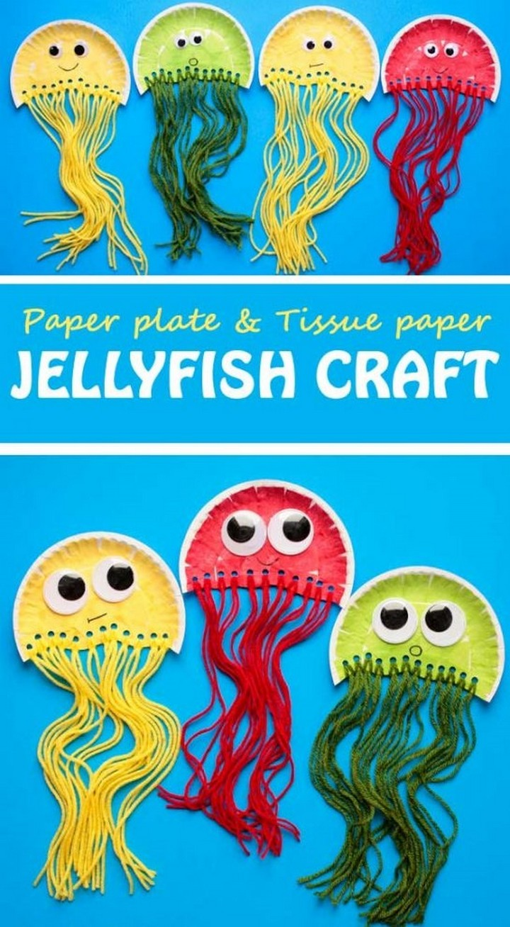 Paper Plate Jellyfish Craft Kids DIY