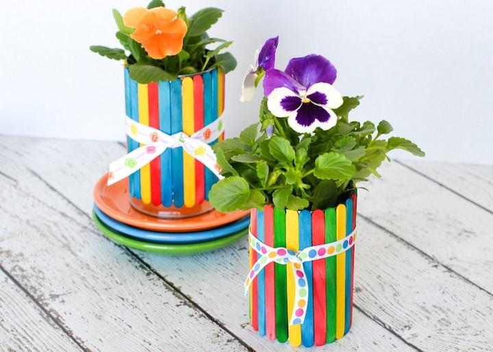 Popsicle Stick Flower Pots DIY