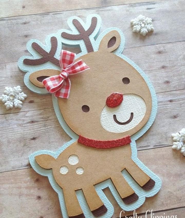 Reindeer Christmas Cards Cute Christmas Card