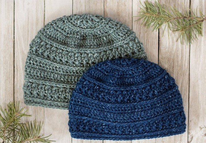 Seed Stitched Beanie Knitted Crochet Hat Pattern