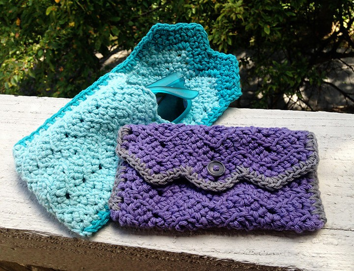Simple Crochet Chevron Glasses Case