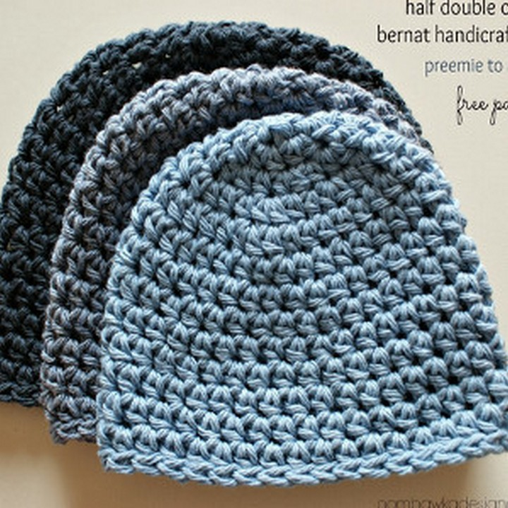 Simple Seamless Double Crochet Hat In The Round