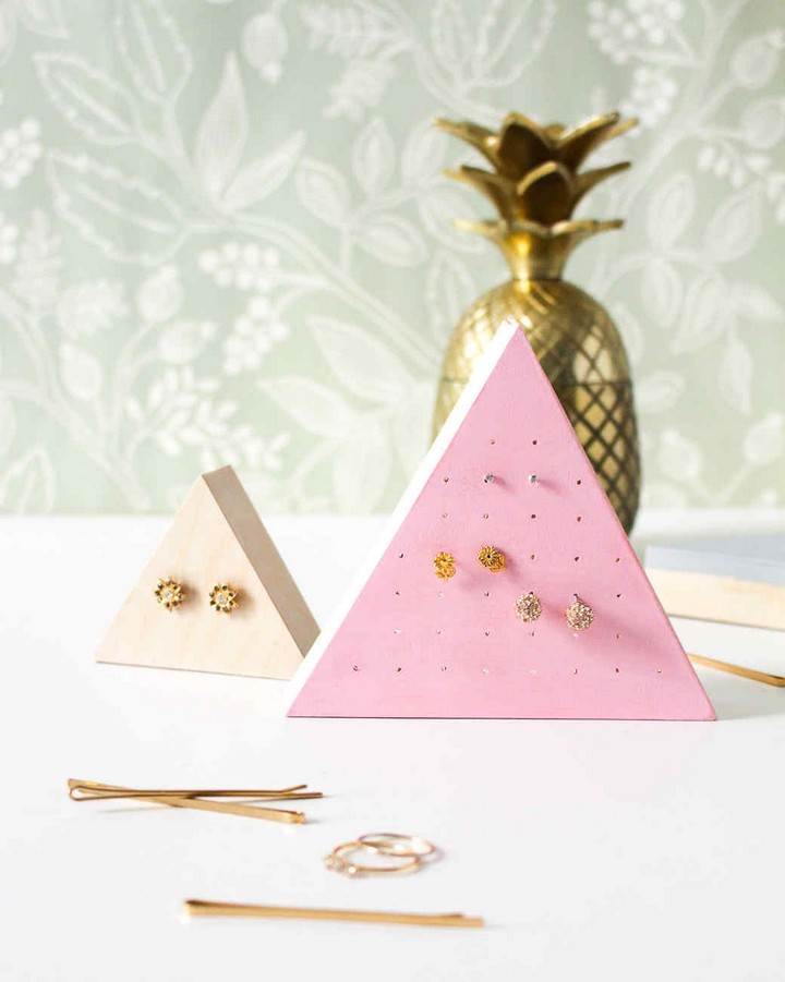 Simple Wooden Stud Earring Holders