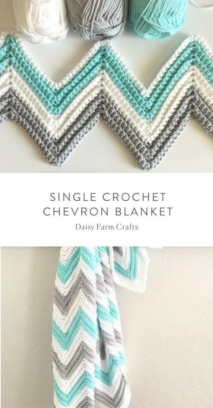 Single Crochet Chevron Blanket Tutorial