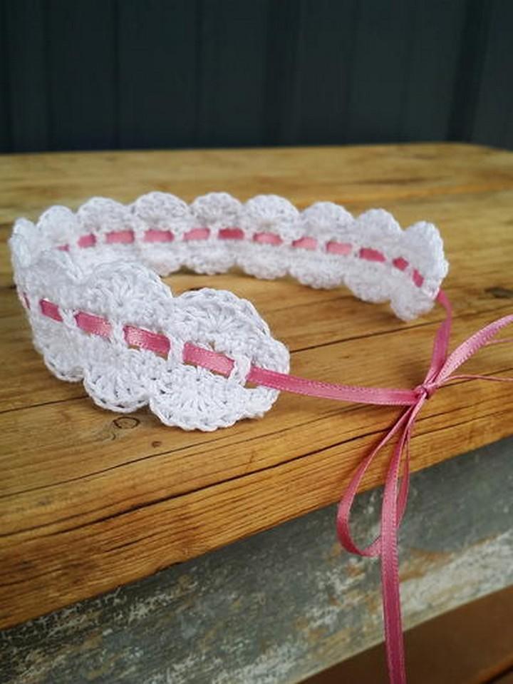 White Crochet Headband With Pink Ribbon