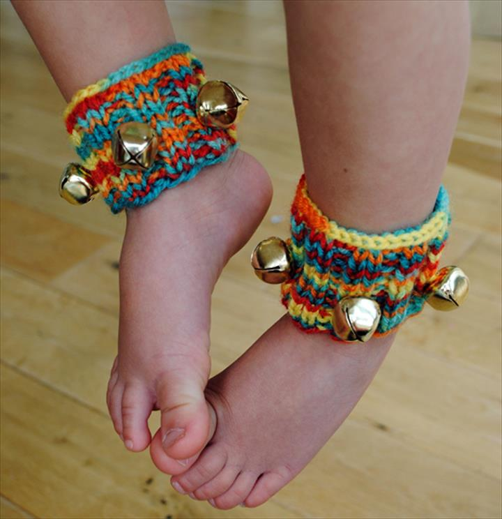 Colorfull Knitted Ankle Jingle Bells