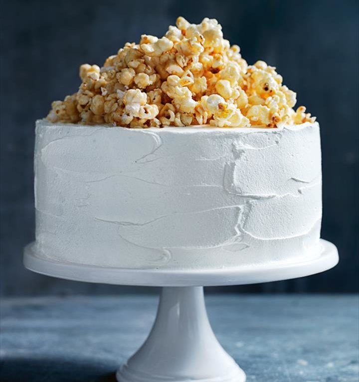 Cream Cake Dessert With Caramel Popcorn
