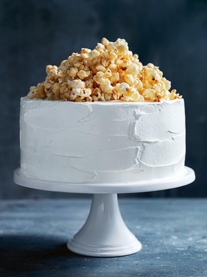 Cream Cake Dessert With Caramel Popcorn