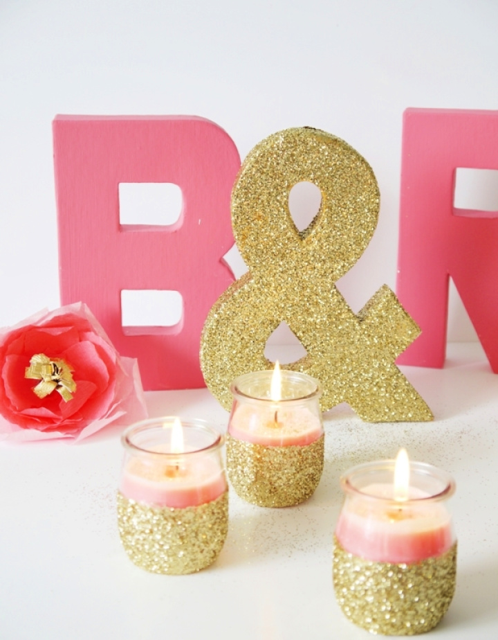 DIY Beautiful Candle Holders In Pink Golden Color