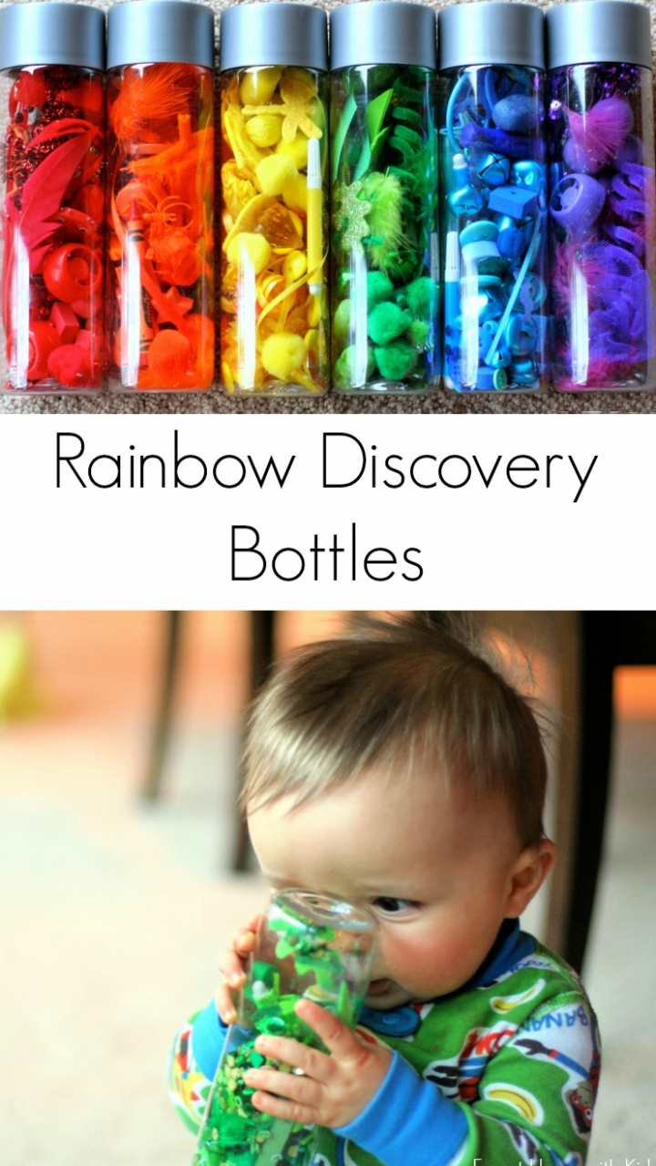 DIY Rainbow Scavenger Hunt and Sensory Bottles