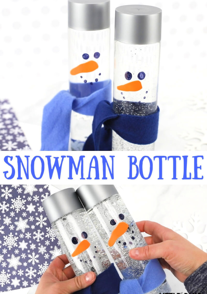 DIY Snowman Tutorial Sensory Bottle for Winter and Fot Kids Activities