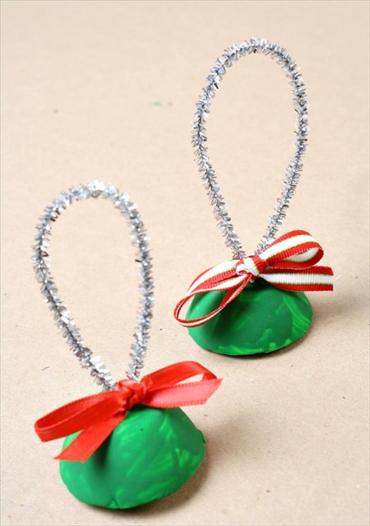 Egg Carton Bells With Ribbon