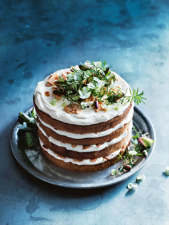 Nice Almond Desset Cake In Bloossom Layers