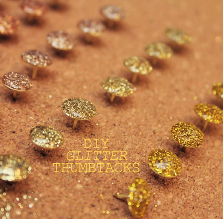 Simple Decent Thumbtacks Making With Glitter