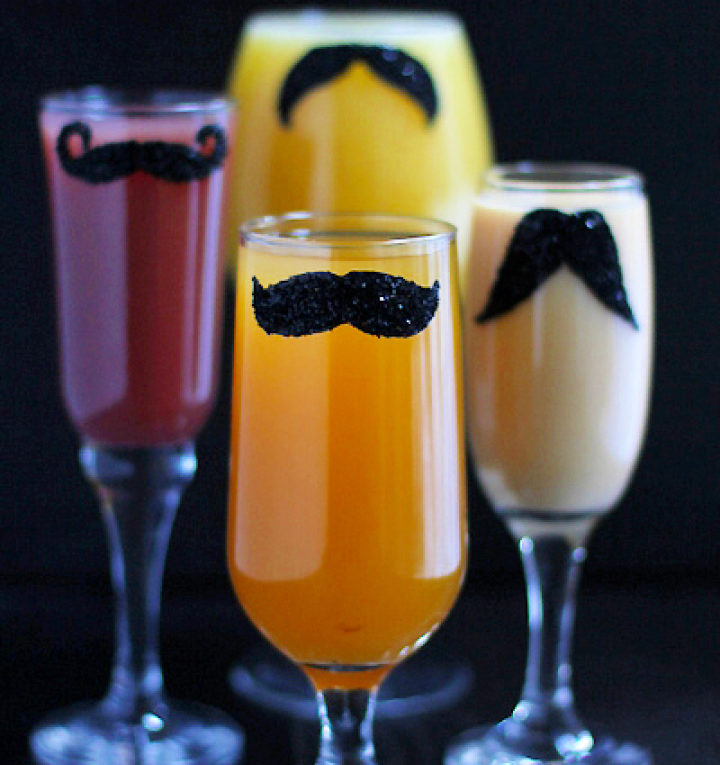 Simple To Make DIY Mustache Glasses With Glitter Idea