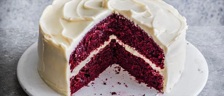 Velvet Cake With Butter In Red Color