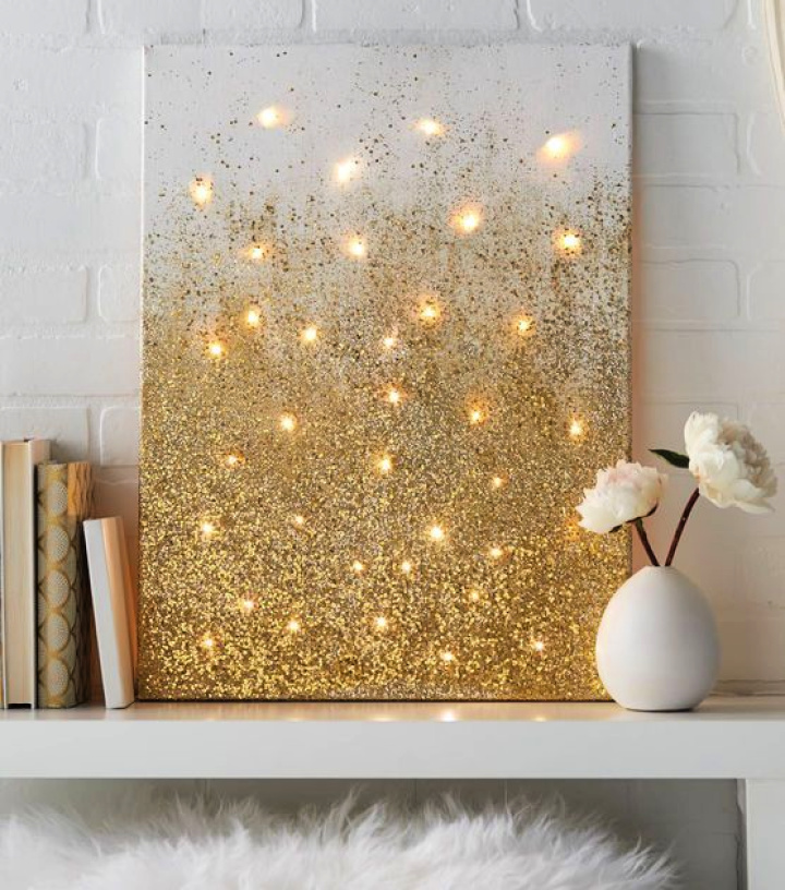 Wall Decoration For Any Room In Your Home With Golden White Glitter