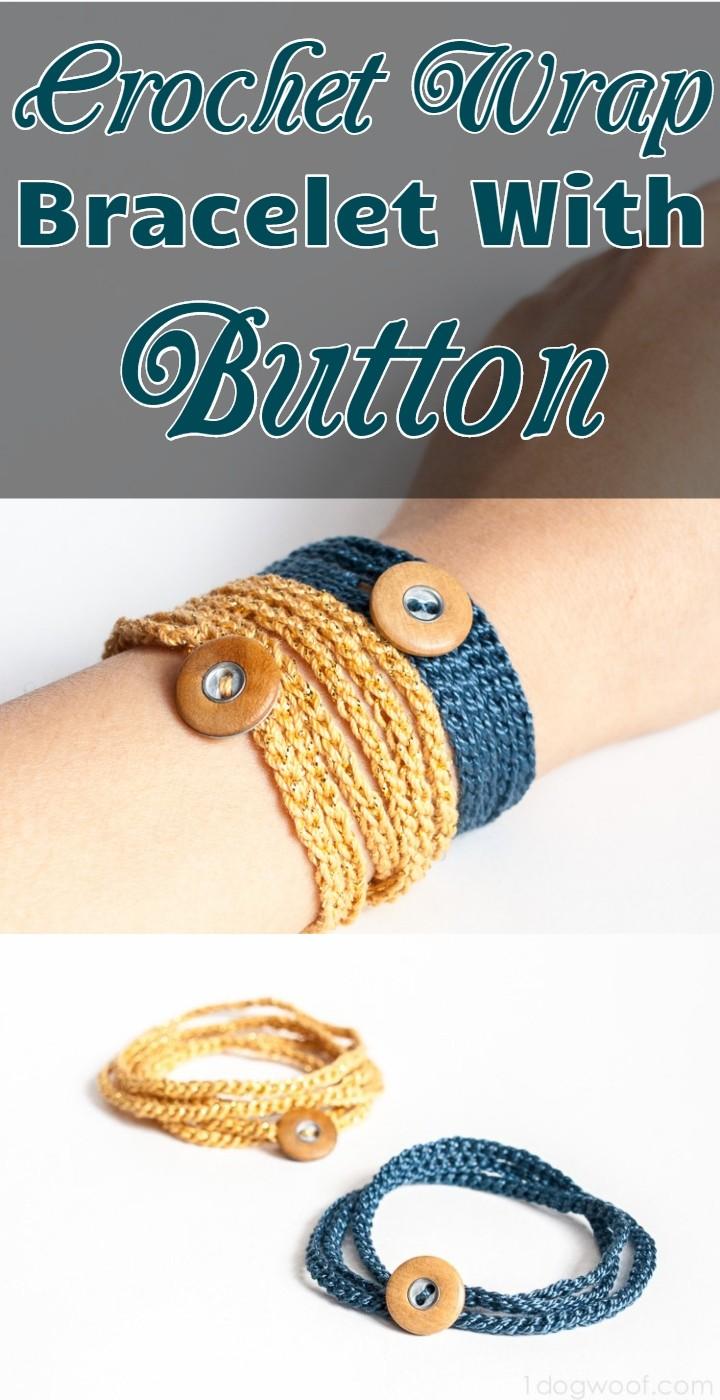 Crochet Wrap Bracelet With Button