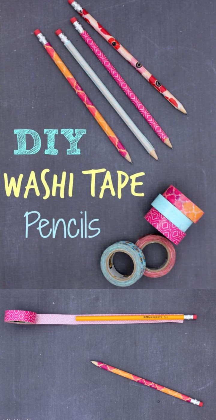DIY Washi Tape Pencils With Personalized School Supplies