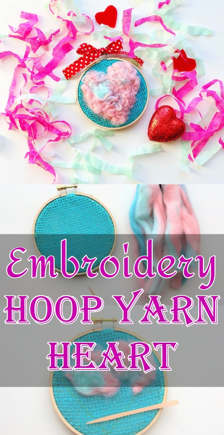 Embroidery Hoop Yarn Heart