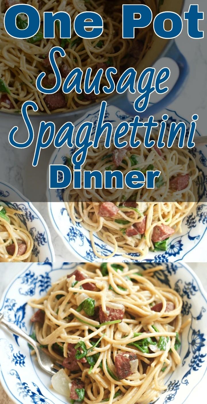 One Pot Sausage Spaghettini Dinner