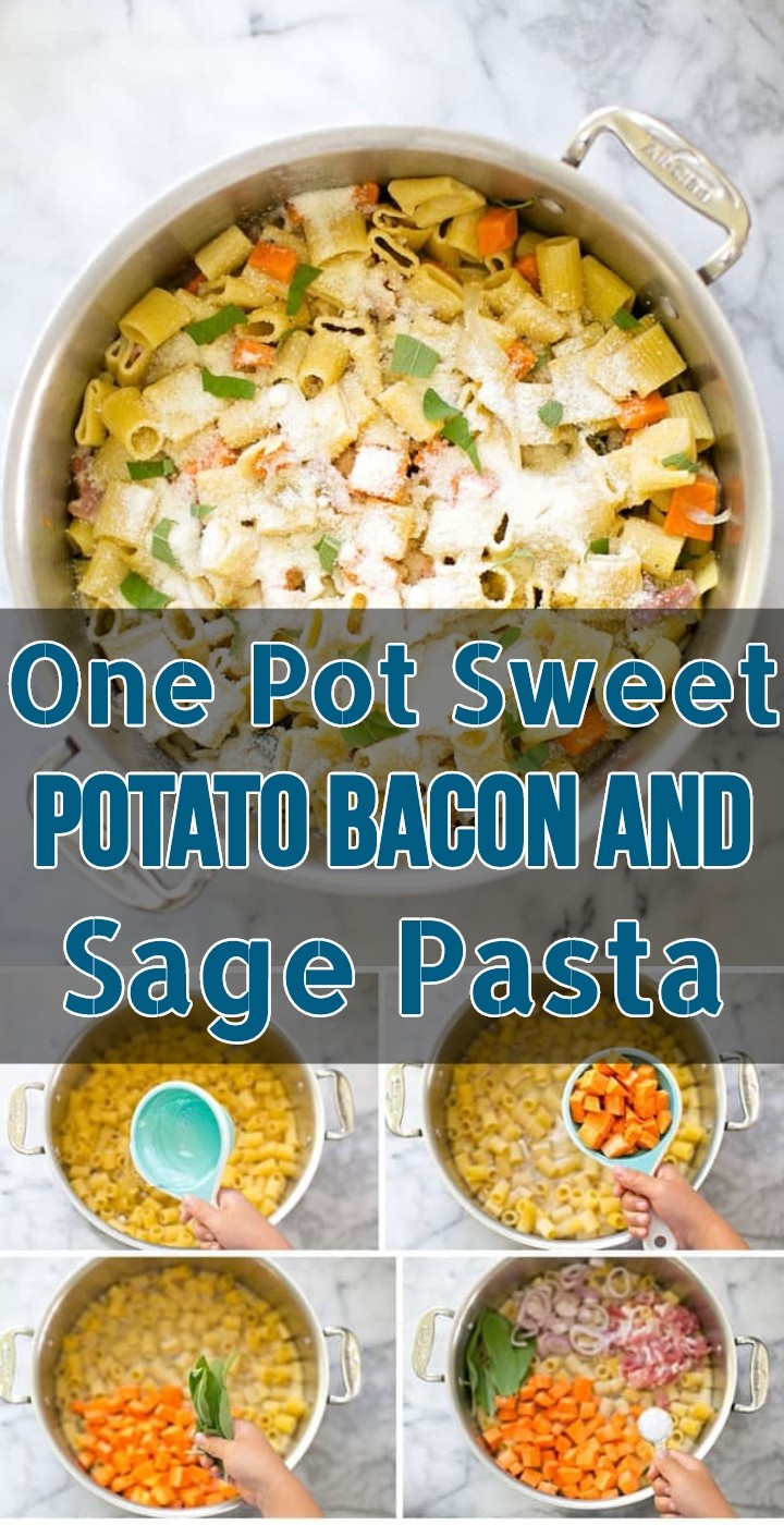 One Pot Sweet Potato Bacon And Sage Pasta