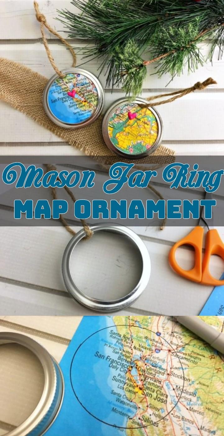 Mason Jar Ring Map Ornament