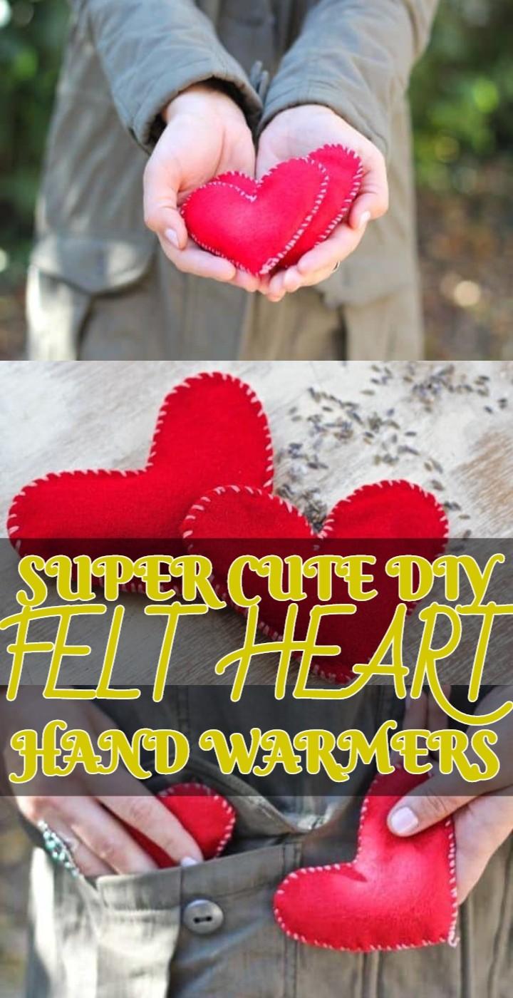 Super Cute DIY Felt Heart Hand Warmers