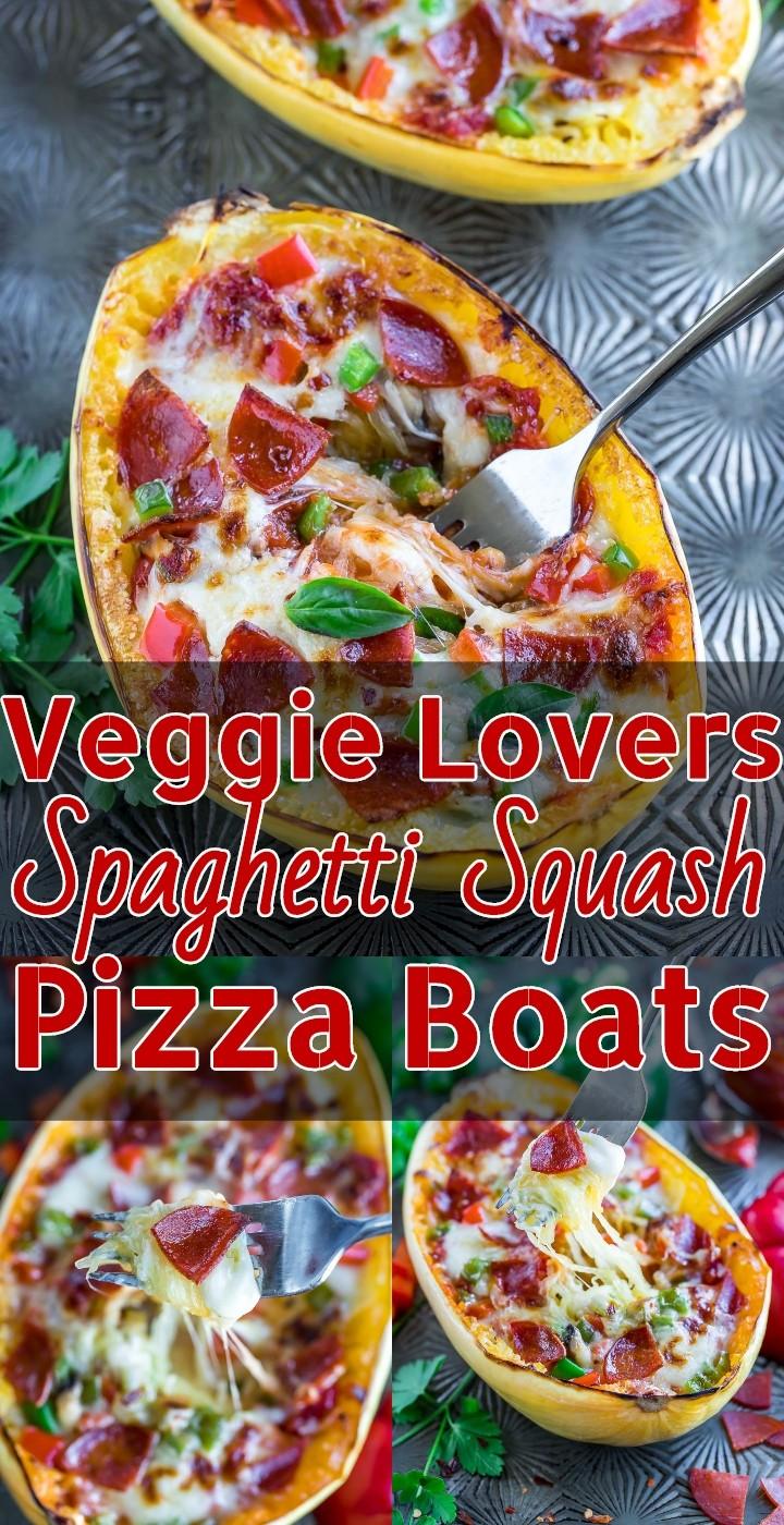 Veggie Lovers Spaghetti Squash Pizza Boats