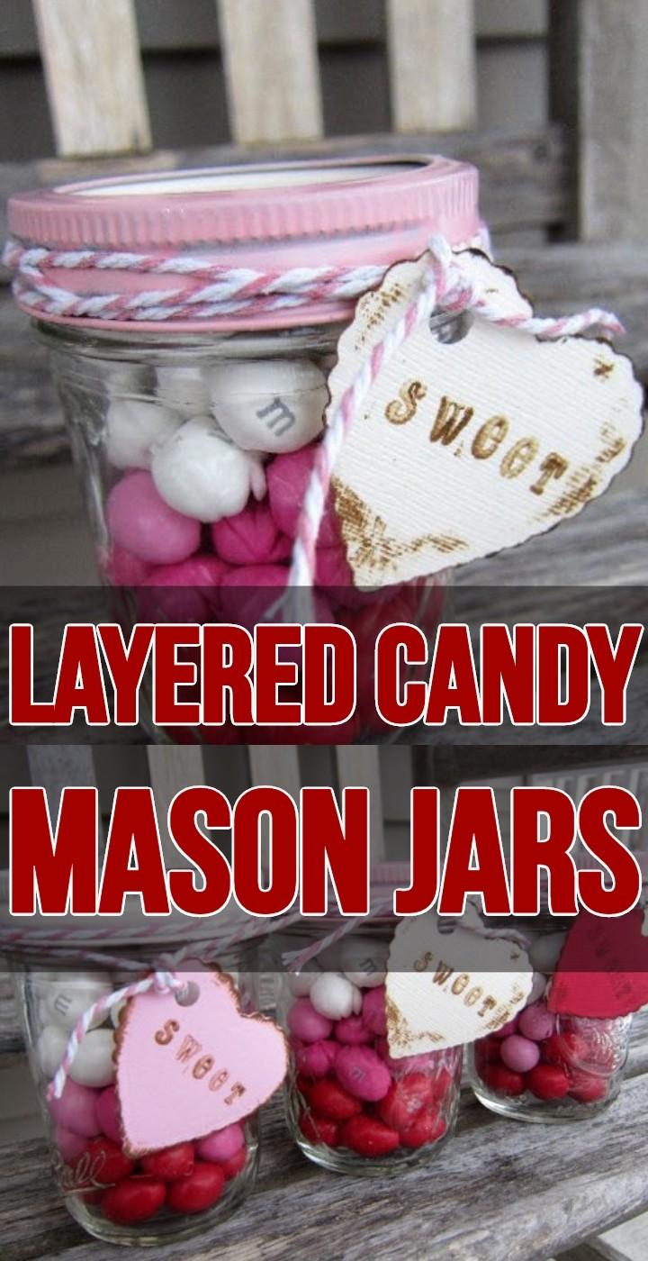 Layered Candy Mason Jars
