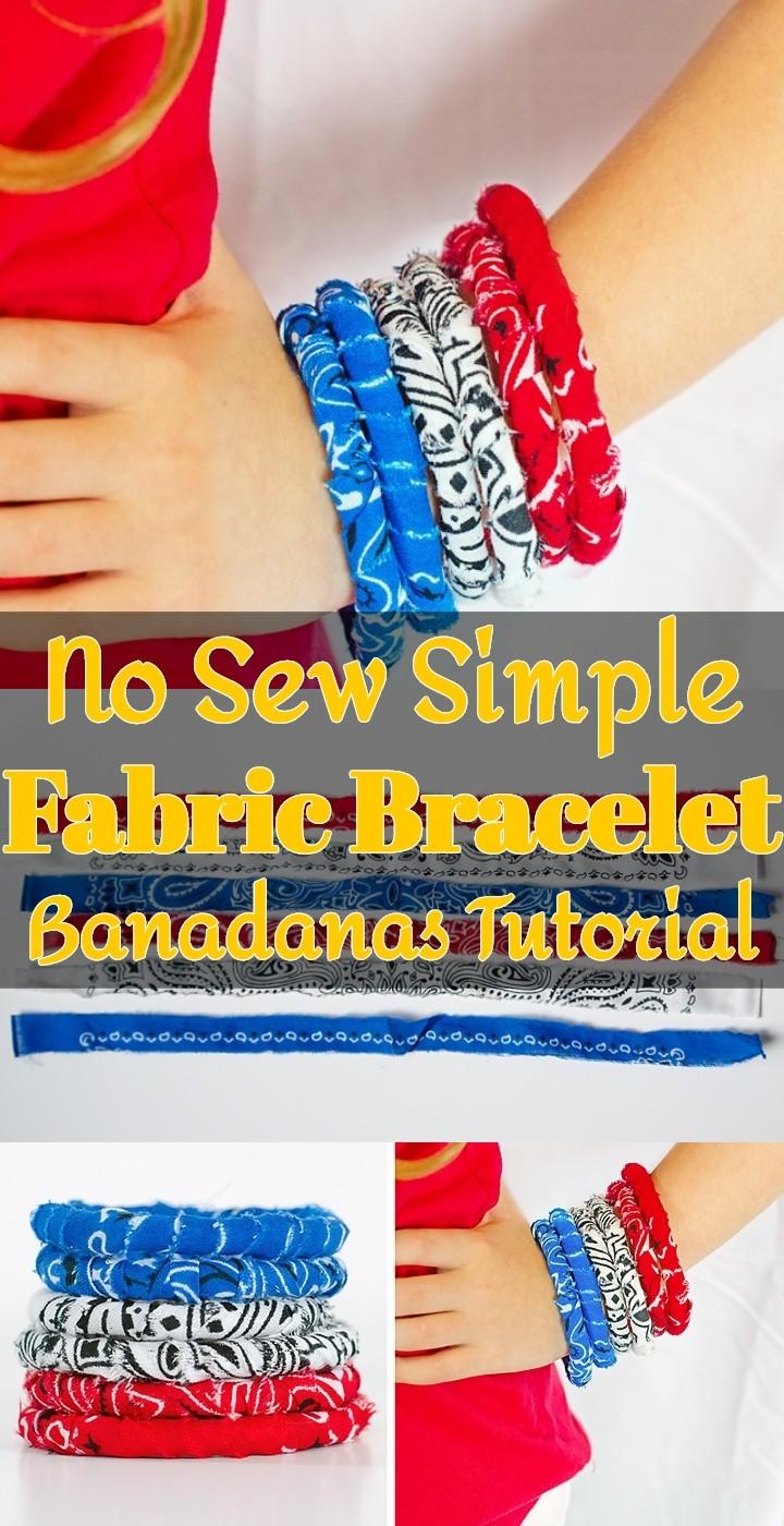 No Sew Simple Fabric Bracelet Banadanas Tutorial