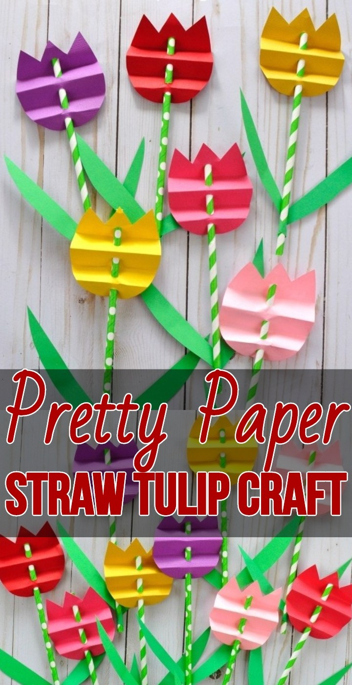 Pretty Paper Straw Tulip Craft