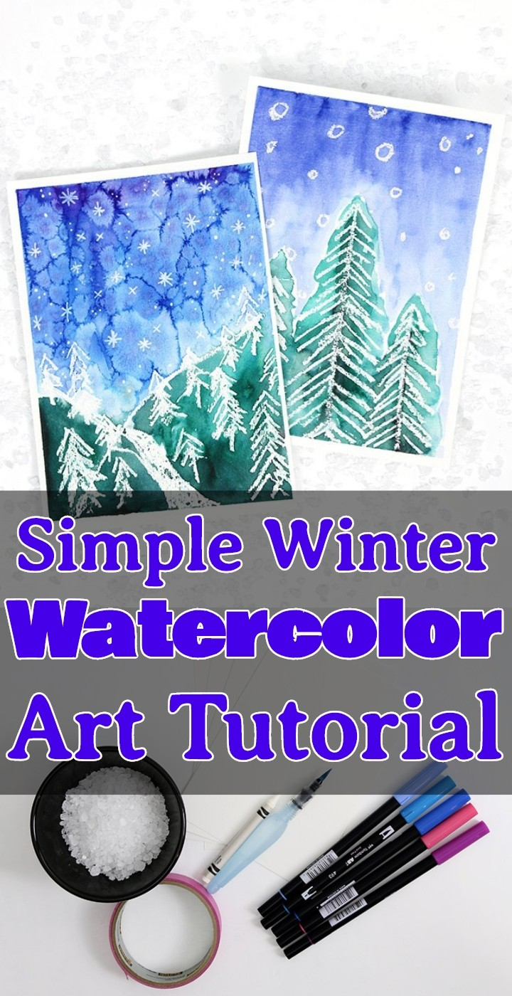 Simple Winter Watercolor Art Tutorial