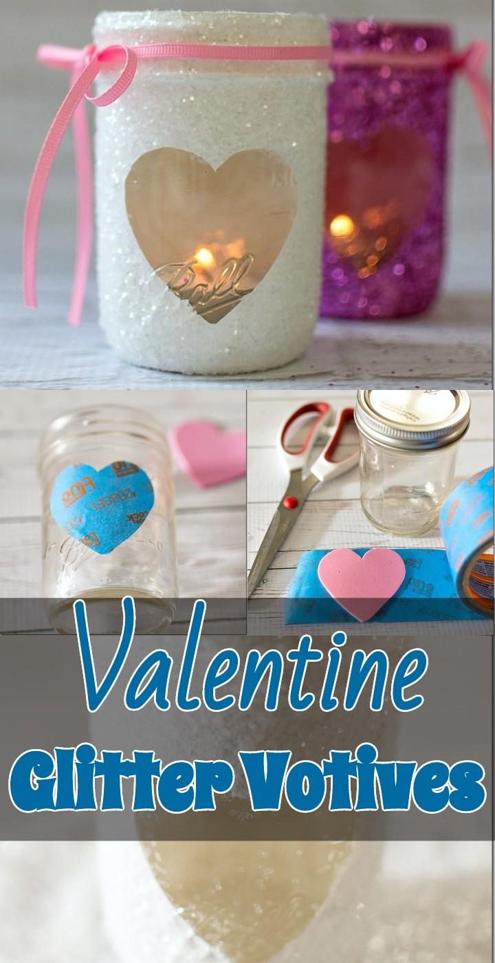 Valentine Glitter Votives