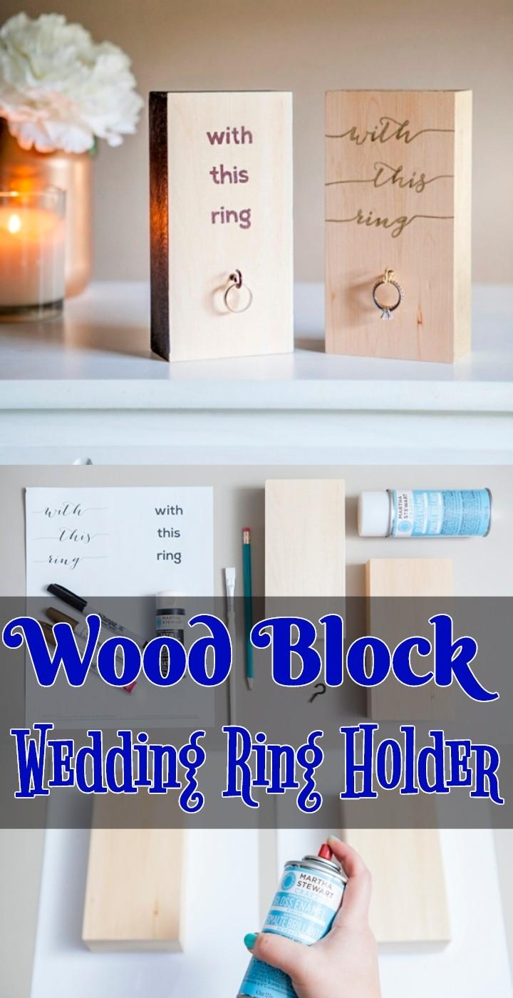 Wood Block Wedding Ring Holder