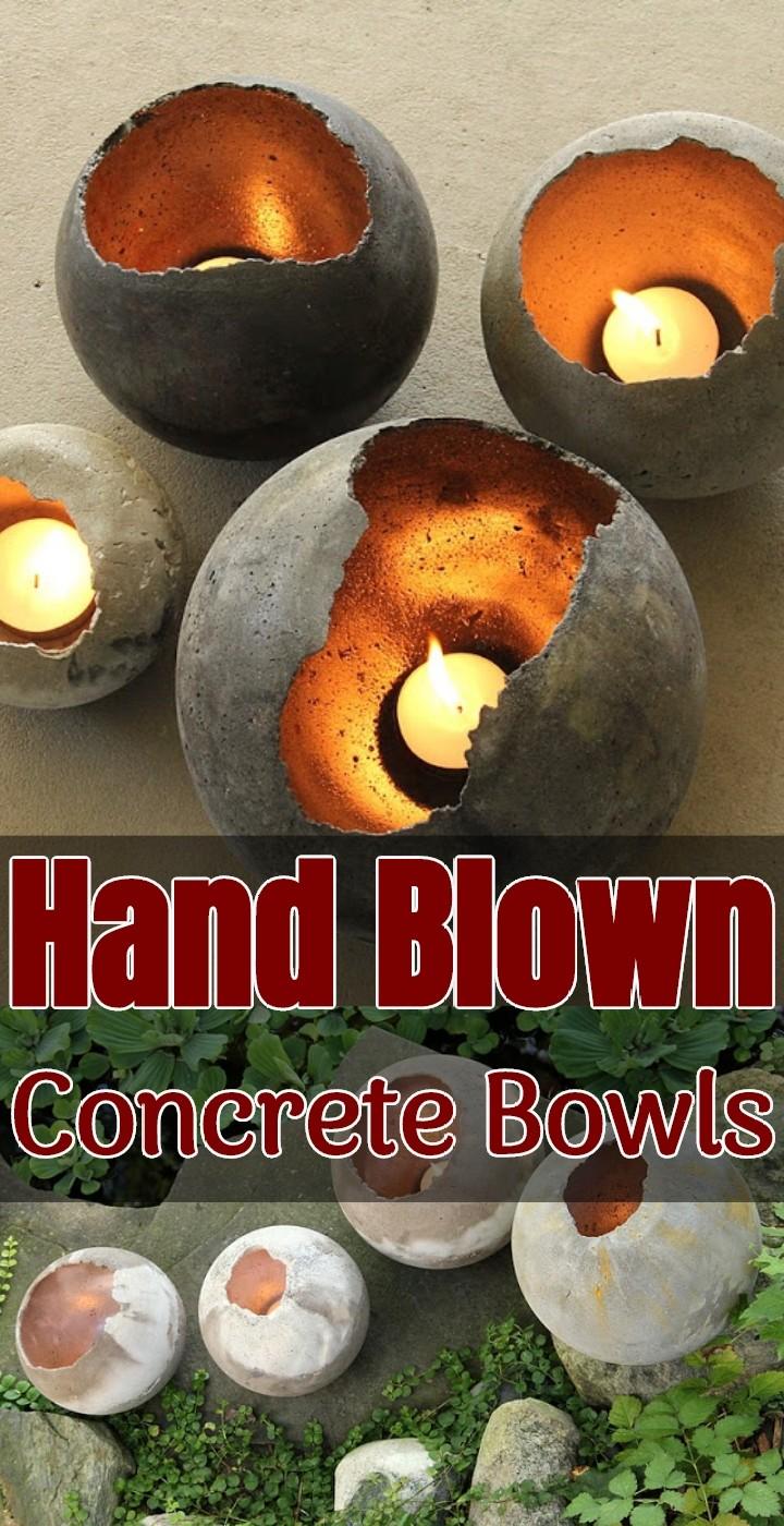 Hand Blown Concrete Bowls