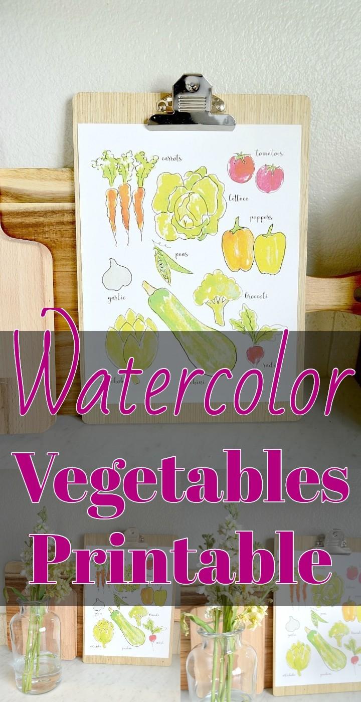 Watercolor Vegetables Printable