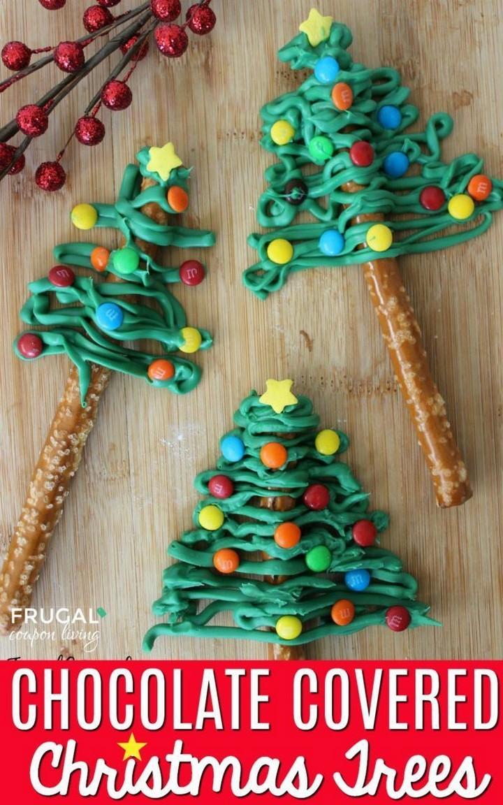 Chocolate Covered Pretzel Christmas Trees