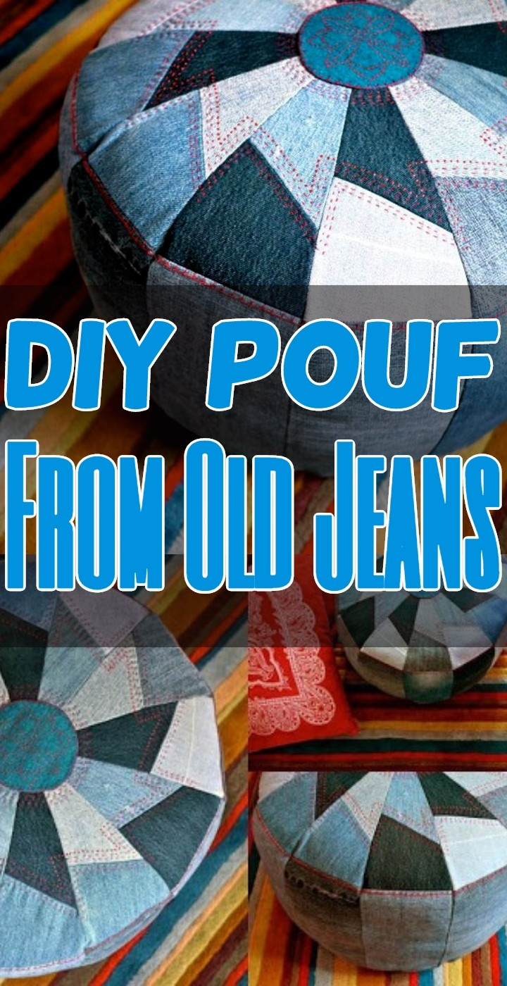 DIY Pouf From Old Jeans