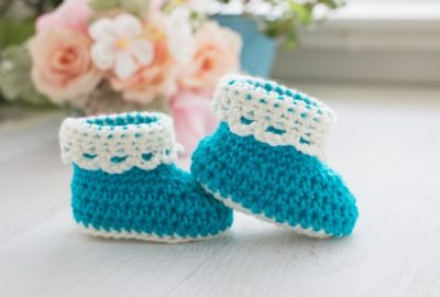 Lace Trim Baby Booties Free Crochet Pattern