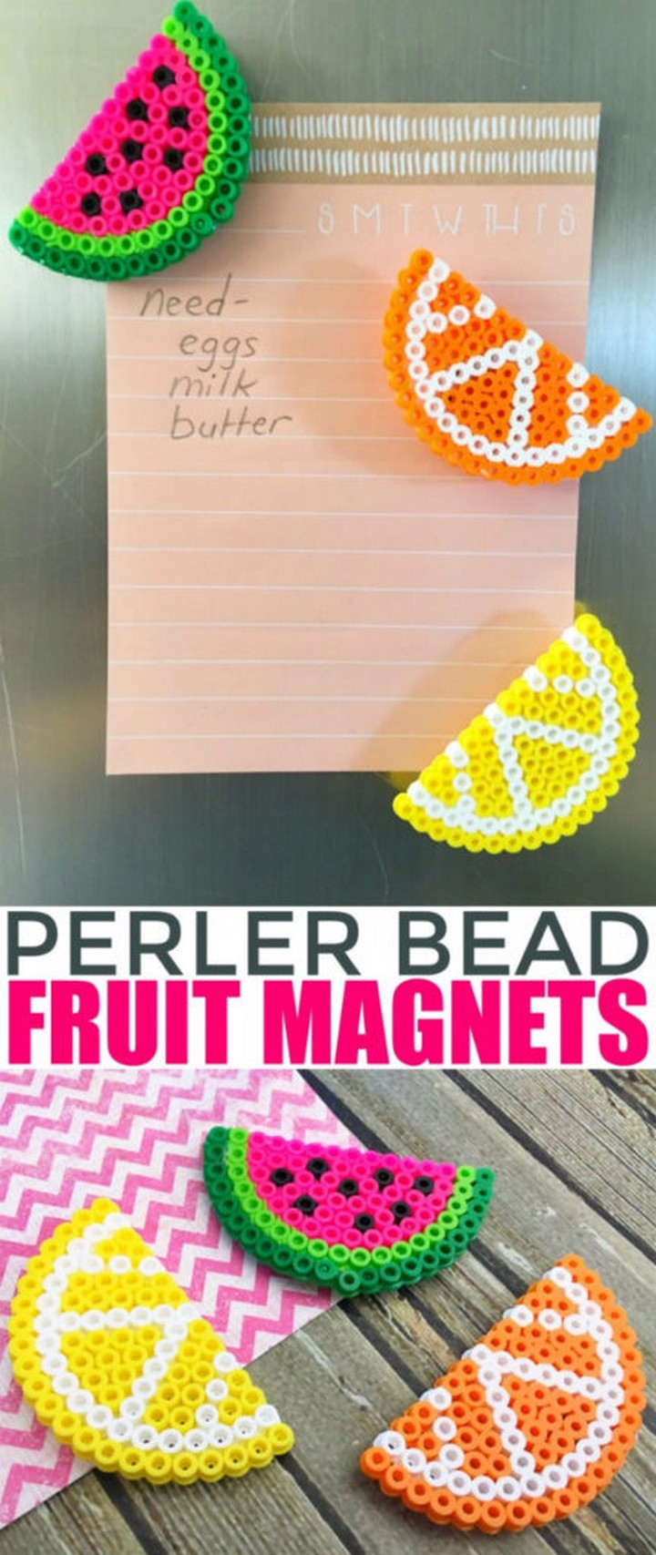 Perler Bead Fruit Magnets DIY
