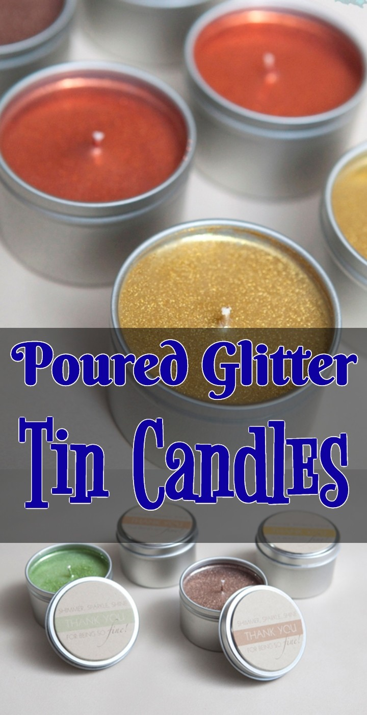 Poured Glitter Tin Candles